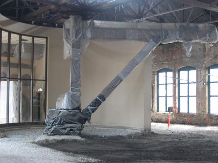 huge wooden crane in Phoenixville Foundry Venue