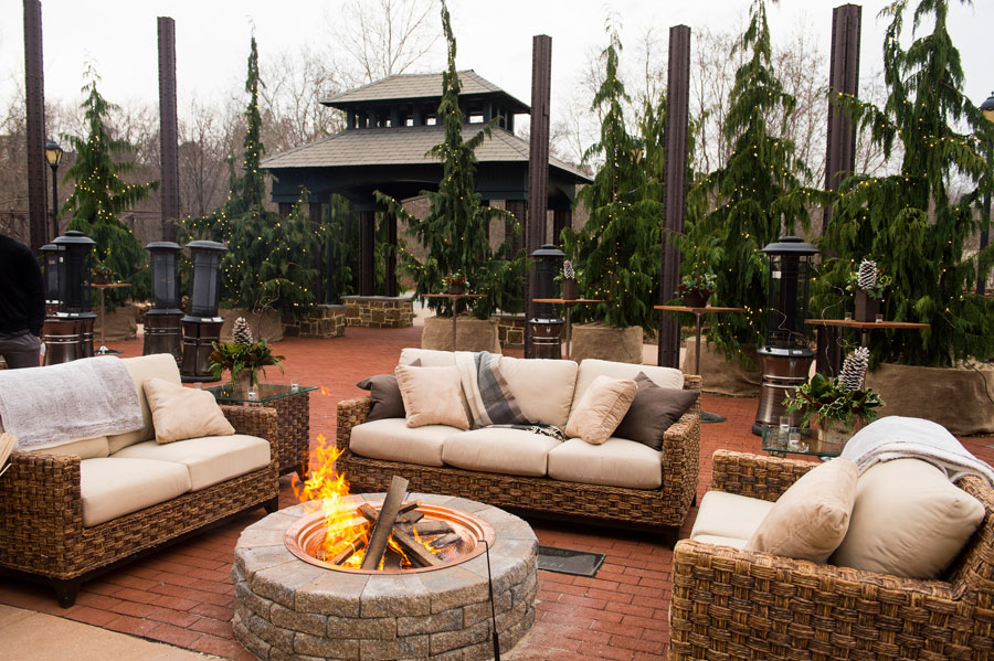 Outdoor Fireplace at Holiday Event at the Phoenixville Foundry