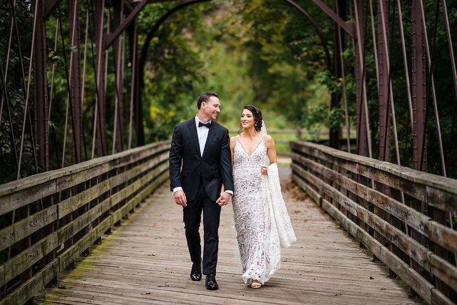 Bride and Groom on Bridge Outside of Foundry Photo Op