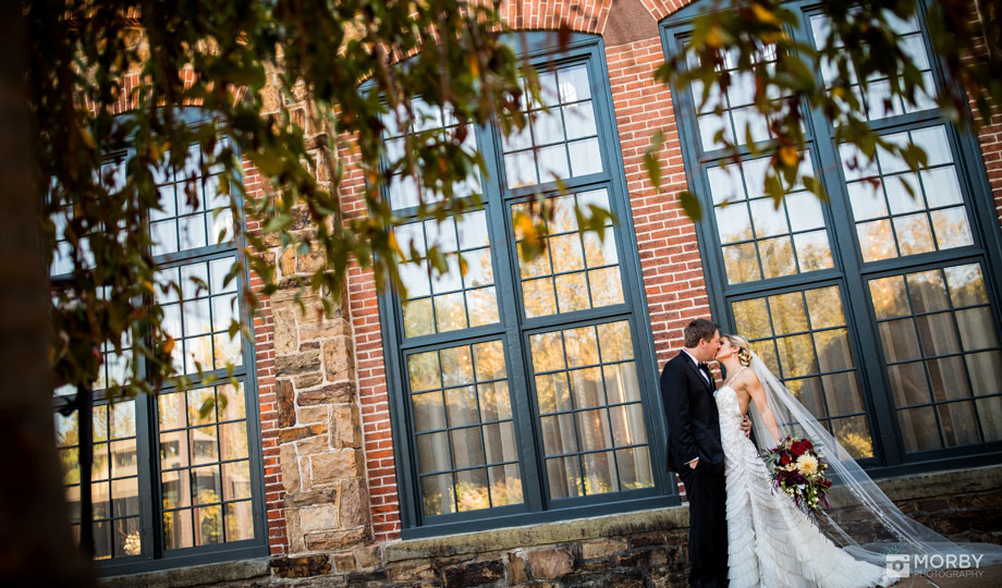 bride and groom outside the Phoenixville Foundry