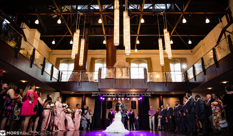 Indoor wedding ceremony at the Phoenixville Foundry