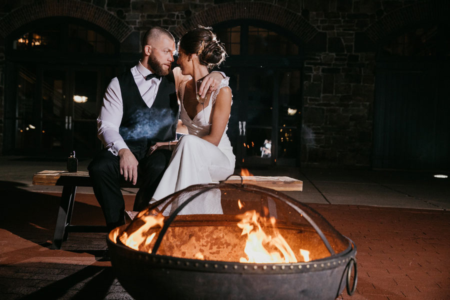 Fire Pit with Smore's at Phoenixville Foundry Wedding