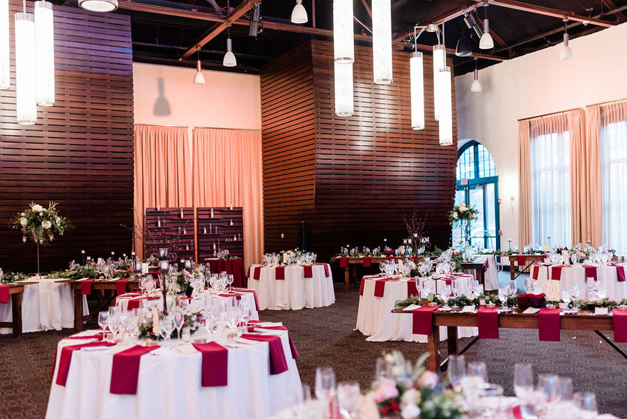 Burgundy Winter Wedding Menu Table Setting