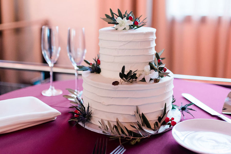 Berries on a Cake at Winter Wedding at Phoenixville Foundry