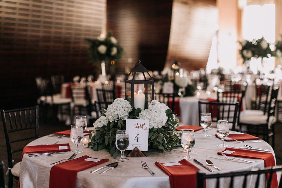 Lantern Centerpiece at Winter Wedding