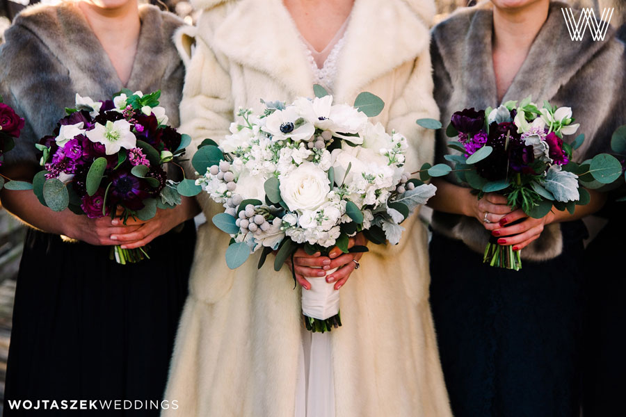 Bride with her Bridesmaids at Winter Wedding with Floral Bouquets